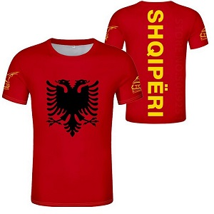 FIGHTERS - T-Shirt / Albanien-Shqipëri / Rot-Gelb / Medium